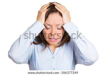 Closeup portrait, stressed, sad mature woman, employee, worker, teacher having bad migraine, tension headache, isolated white background. Negative human face expressions, emotions, reaction, attitude - stock photo