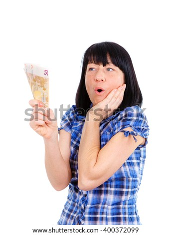 Closeup portrait surprised excited successful woman holding money euro banknotes in hand isolated white background. Positive emotion facial expression feeling. Financial reward savings