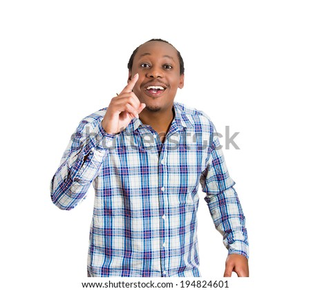 Closeup portrait surprised, happy young man just came up with idea aha, index finger pointing up, isolated white background. Positive human emotions, facial expressions, feeling, symbol, sign reaction - stock photo