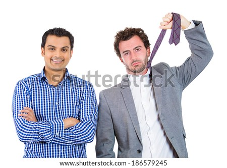 Closeup portrait two business men, friends, co-workers, one being positive, excited, optimistic, second gloomy, upset, troubled, overwhelmed, depressed ready to hang himself, isolated white background - stock photo