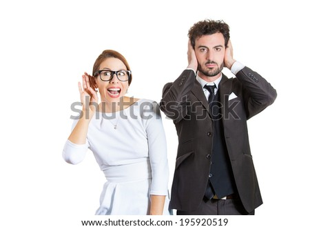 Closeup portrait two workers, couple, business man corporate employee, nosy woman listening to gossip, guy covering ears ignoring, hear no evil isolated white background. Life perception differences  - stock photo