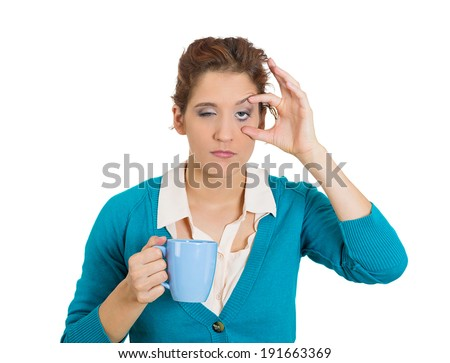 Closeup portrait very tired, falling asleep woman, employee holding cup coffee, struggling not crash, stay awake, keeping eyes opened isolated white background. Human face expression, feeling reaction - stock photo