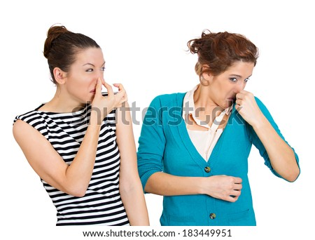 Closeup portrait, woman looking at female closing, covering nose, something stinks, very bad smell, odor. Girl sniffs herself. Isolated white background. Negative emotion, facial expression, feeling