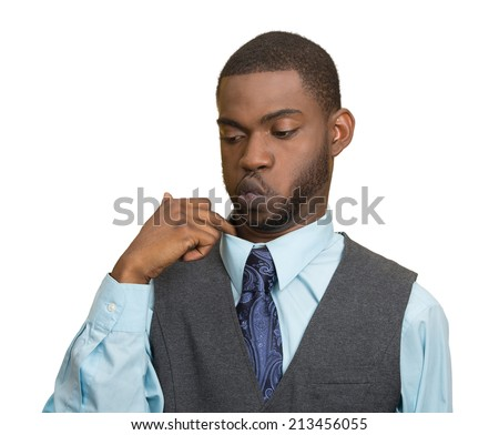 Closeup portrait, young business man opening shirt to vent, it's hot, unpleasant, awkward Situation, Embarrassment. Isolated white background. Negative Emotion Face Expression, Feeling body language - stock photo