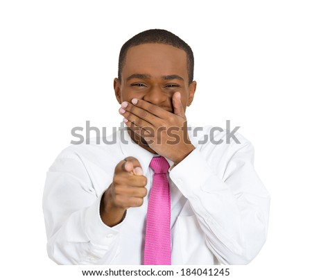 Closeup portrait young, laughing, handsome excited, happy man pointing at you camera gesture with finger isolated white background. Positive emotion, facial expression, feeling, body language reaction