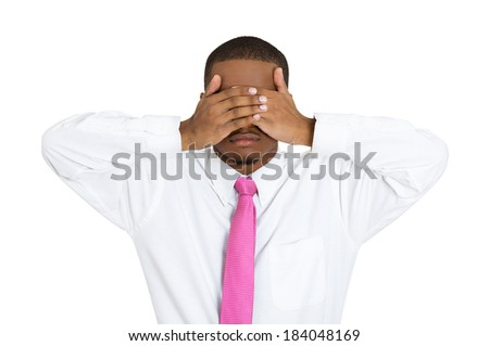 Closeup portrait, young male, shy man closing covering eyes with hands can't see, hiding, isolated white background. See no evil concept. Negative human emotion facial expression feeling reaction - stock photo