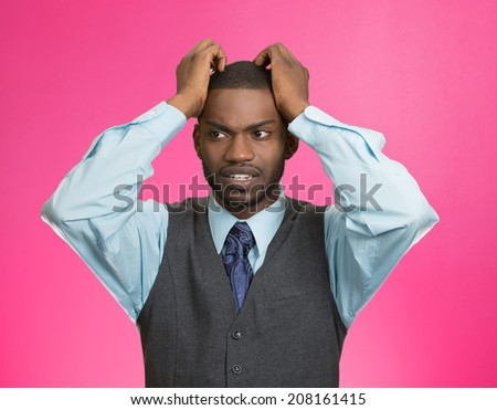 Closeup portrait, young, stressed, unhappy executive man with hands on temples, head about to explode, almost having nuclear meltdown, isolated pink color background. Warhol style picture - stock photo
