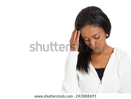Closeup portrait young, unhappy stressed woman looking down away thinking in frustration despair isolated white background with copy space. Negative human emotion facial expression feeling perception  - stock photo