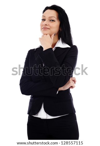 Closeup pose of pensive businesswoman, looking at camera, isolated on white background - stock photo