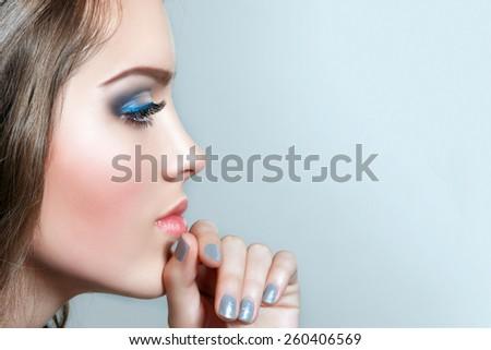 Closeup Profile Girl Face. Thinking  Young Woman. Beauty Choosing Woman. Hand near Face. - stock photo