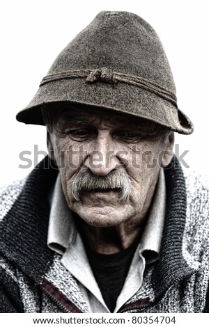 Closeup Profile of Aged Man With  Grey Mustache - stock photo