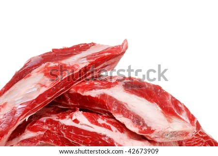 Closeup Raw Beef Spare Ribs - stock photo