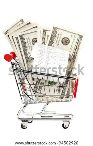 Closeup Receipt and cash in shopping cart - stock photo