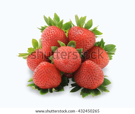 closeup red Strawberries fruit with green leaves, Juicy strawberry, Very Berry Strawberry Isolated on a white background. This has clipping path. - stock photo