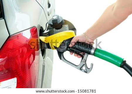 Closeup refuel gasoline in gas-station on white background - stock photo