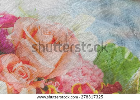 closeup rose flower with wood crack background - stock photo