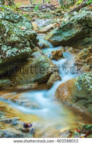 closeup rushing mountain river - stock photo