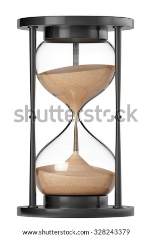 Closeup Sand hourglass on a white background  - stock photo