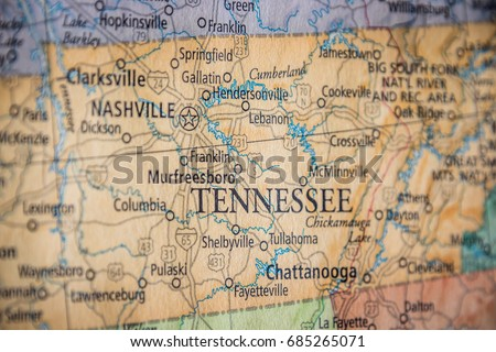 Closeup Selective Focus Of Tennessee State On A Geographical And Political State Map Of The Usa
