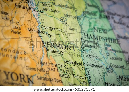 Closeup Selective Focus Connecticut State On Stock Photo - Vermont political map