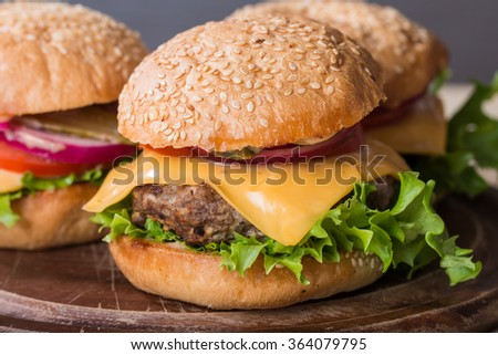Closeup set of classic homemade burger made from beef and fresh vegetables - stock photo