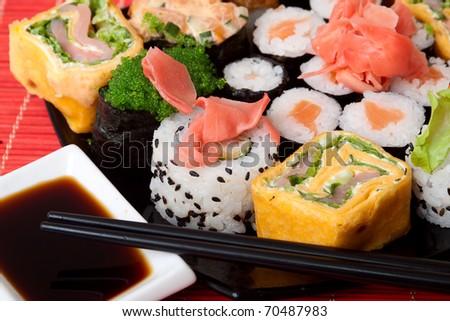 closeup set of Japanese sushi - stock photo