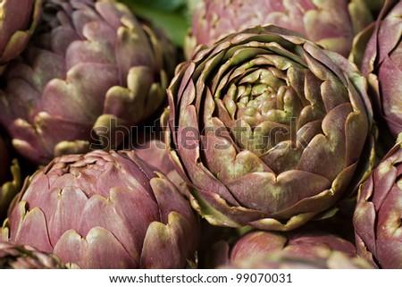 closeup shoot of a group of artichokes - stock photo