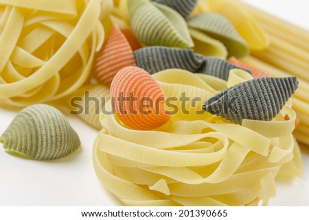 Closeup shoot of different types of raw pasta