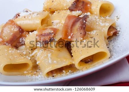 Closeup shoot of the classic italian recipe Carbonara - stock photo