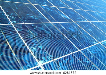 closeup shot of a blue solar panel - stock photo