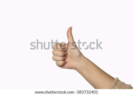 Closeup shot of a woman hand isolated on white background. Close up hand with the palm up receiving or holding something. Girl's hand open. - stock photo