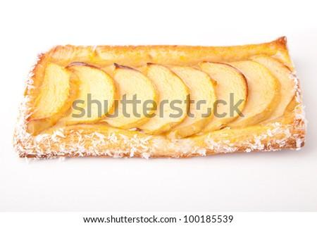 Closeup shot of an apple pie - stock photo