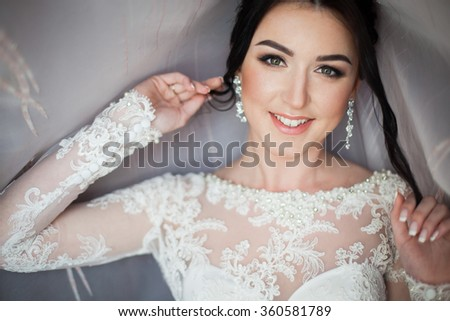 Closeup shot of an elegant, brunette bride in vintage white dress posing under veil closeup - stock photo