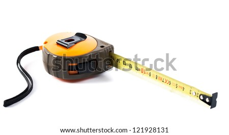 Closeup shot of an industrial measurement tape isolated on white background - stock photo