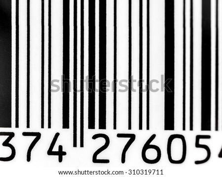 Closeup shot of bar code - stock photo