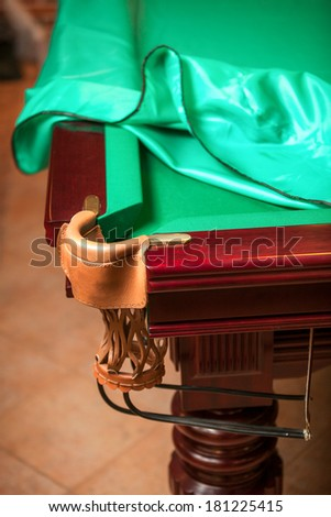 Closeup shot of billiard table under cloth cover with open pocket - stock photo