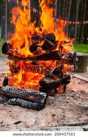 Closeup shot of burning camping bonfire - stock photo