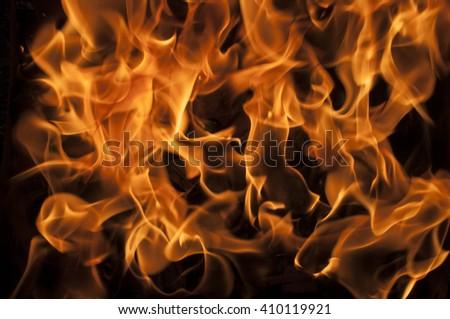 Closeup shot of camp fire and burning coal - stock photo