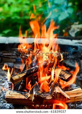 Closeup shot of camping fire - stock photo