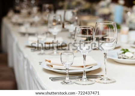 Closeup shot of empty wine glasses  on the table