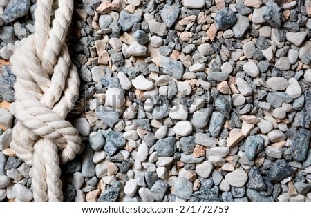 Closeup shot of marine knot lying on seashore covered by pebbles - stock photo