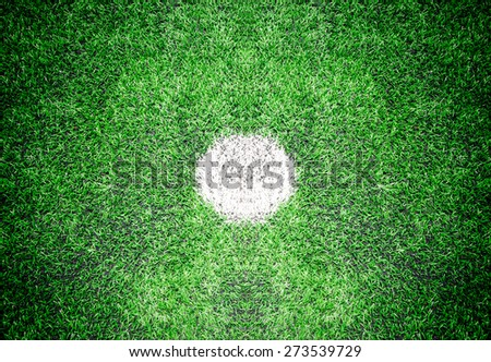 Closeup shot of marking on center of soccer field - stock photo