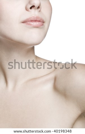 closeup shot of neck and shoulder of a beautiful girl - stock photo