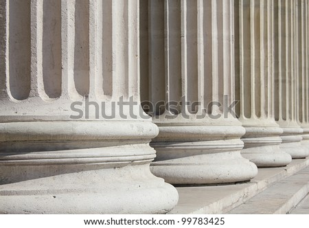 Closeup shot of neoclassical columns of Museum of Fine Arts, Budapest - business concept - stock photo