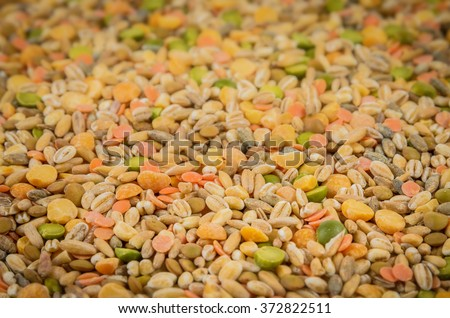 closeup shot of pea and wheat mixture - stock photo