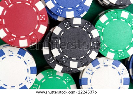 Closeup shot of piles of casino chips