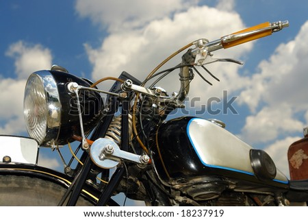 Closeup shot of retro motorbike - stock photo