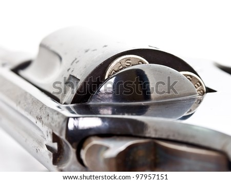 closeup shot of revolver handgun focused on the bullets in the storage cylinder