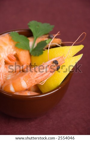 Closeup shot of shrimps in an appetizer cup (shallow DOF) - stock photo