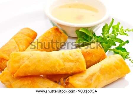 closeup shot of springrolls with sweet plum sauce - stock photo